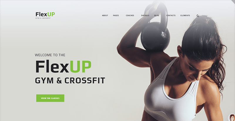 thèmes WordPress pour créer un site Web de club de fitness - Flex up