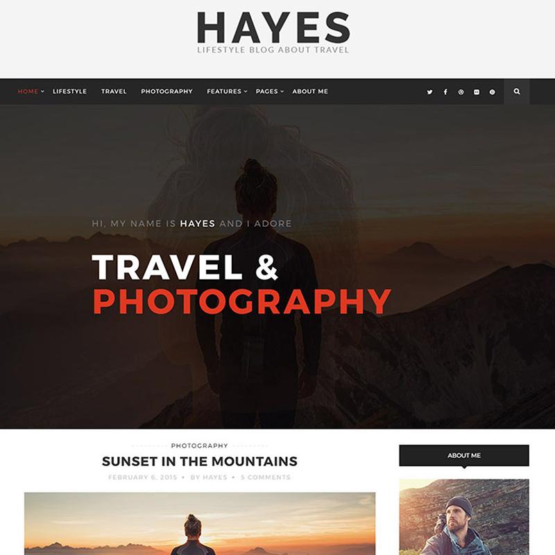 Hayes - tema de WordPress para el blog de viajes