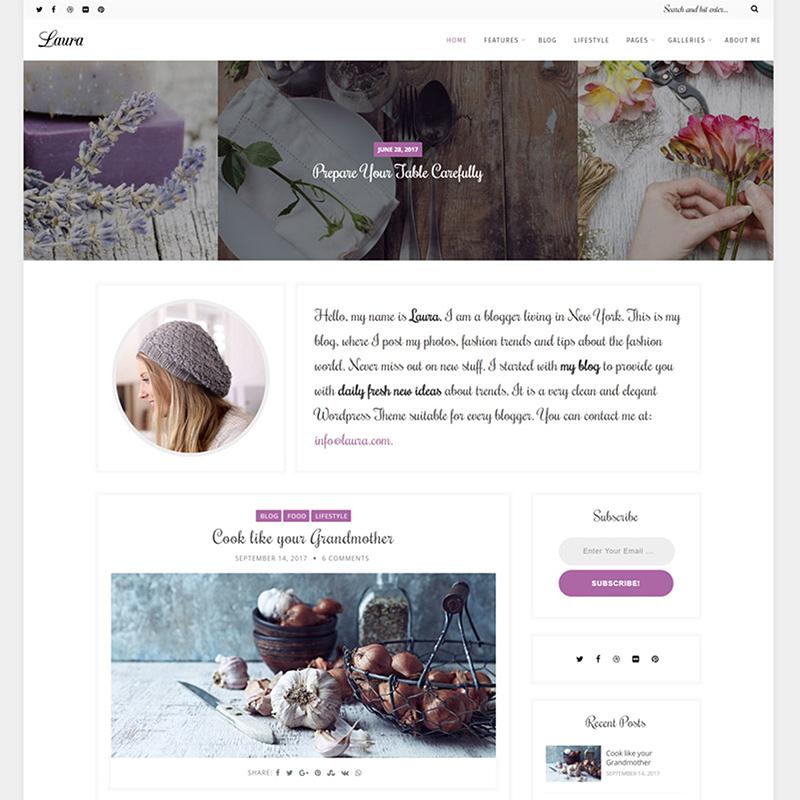 Laura - tema de WordPress para el blog de la mujer