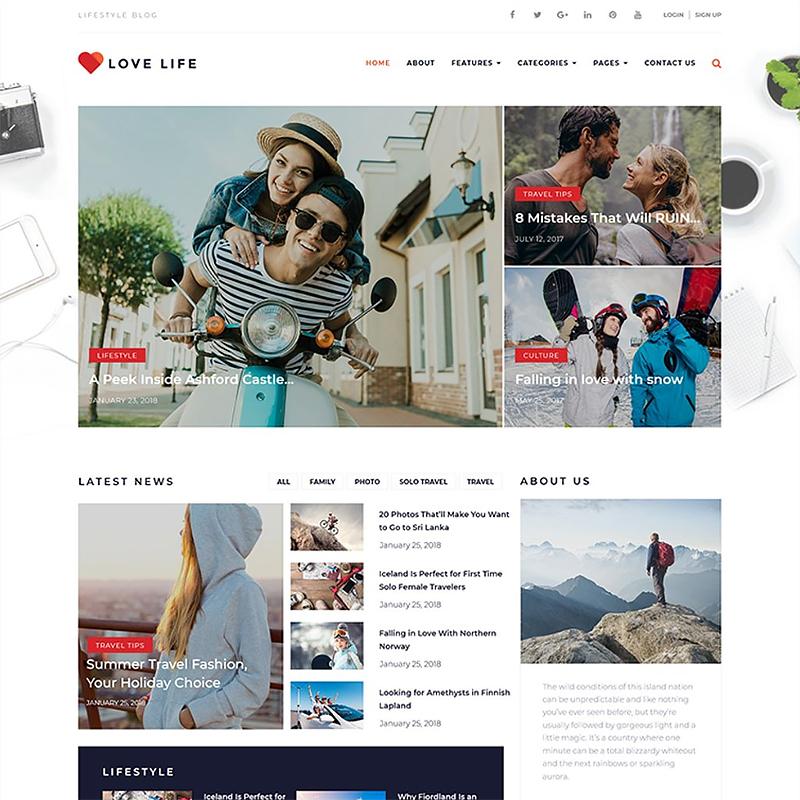Love Life - Tema adaptable de WordPress para Blog personal