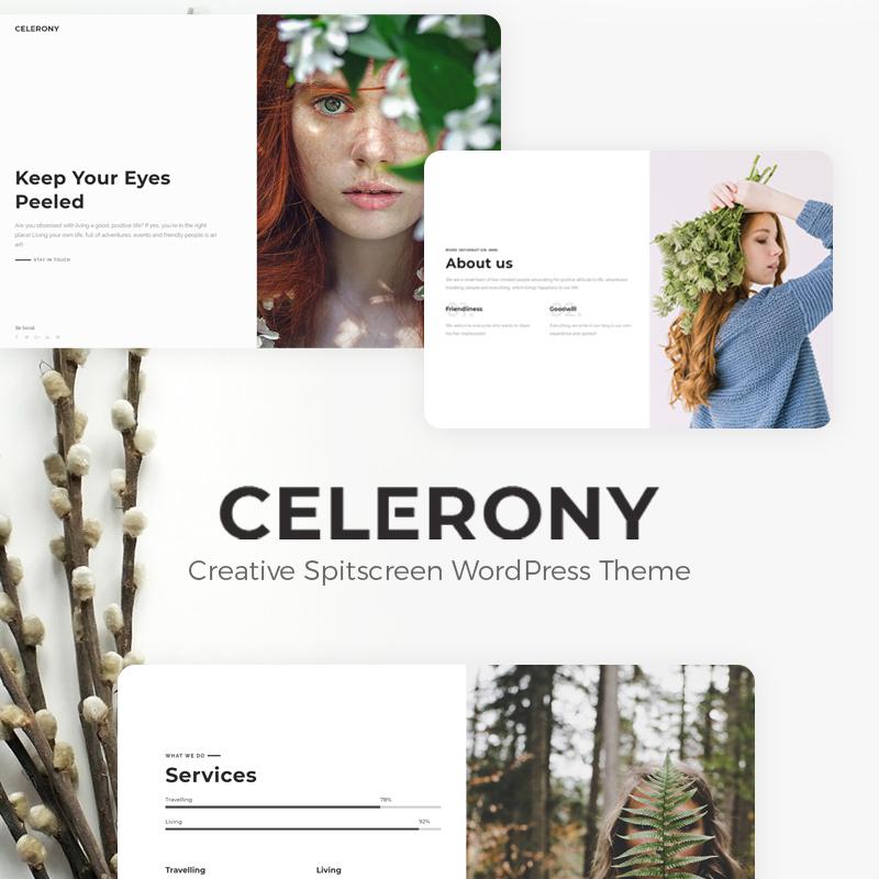 Celerony - Tema de WordPress Elementor para pantalla dividida creativa