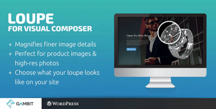 Loupe image magnifying glass for wpbakery page builder formerly visual composer plugin wordpress
