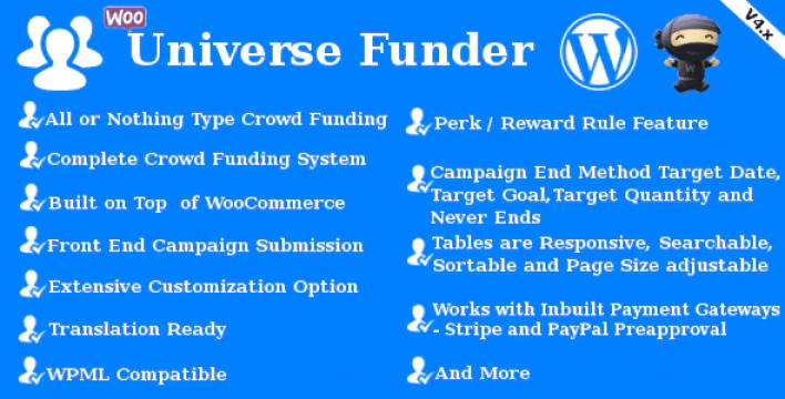 Universe funder woocommerce crowdfunding system plugin wordpress