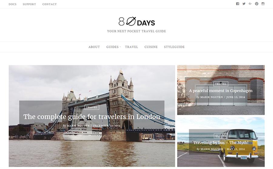 EightyDays - Thème WordPress minimaliste pour blog de voyages