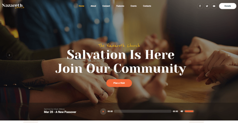 Nazareth – church theme wordpress evenement
