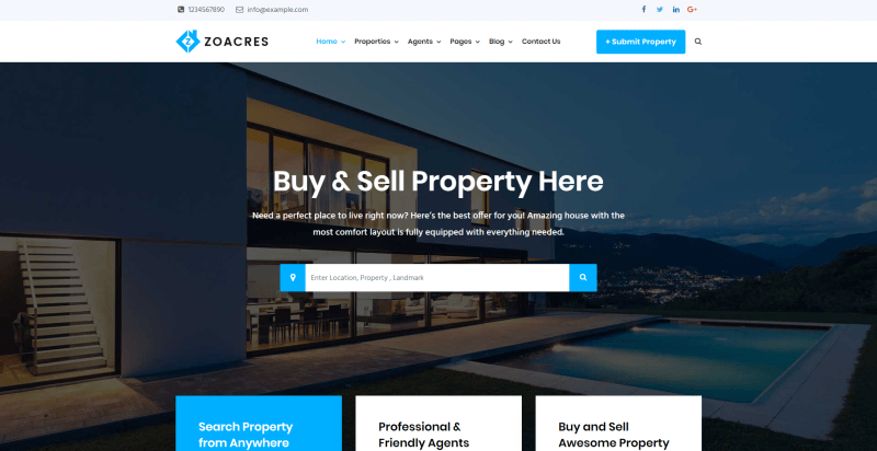 Zoacres - tema wordpress real estate
