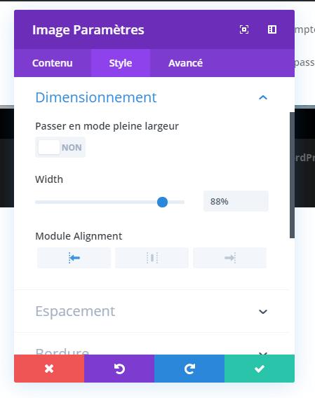 Configuration module image espacement largeur