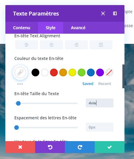 Reglage module parametere divi