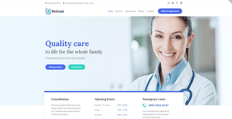 thèmes WordPress pour créer un site Web de clinique de santé Bettum