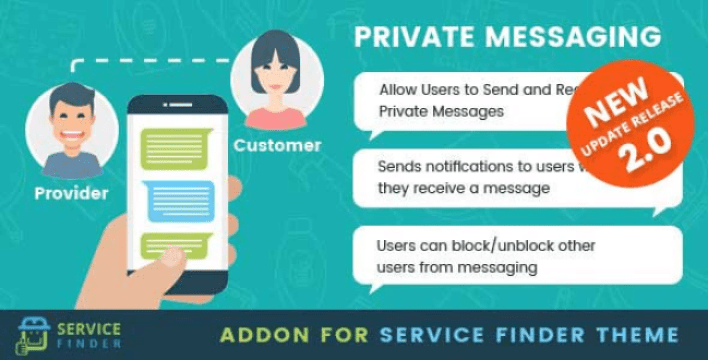 Private messaging add on for service finder theme wordpress plugin
