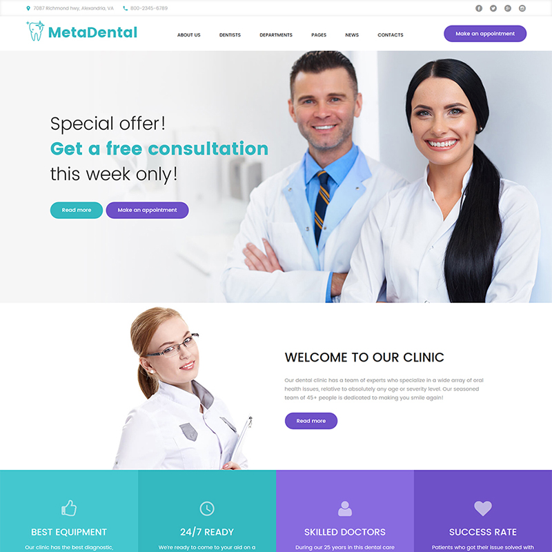 MetaDental - Tema de WordPress de Clínica Responsiva Dental Privada