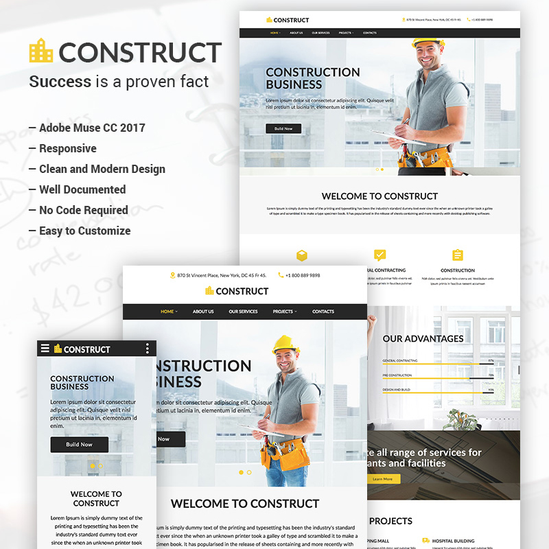 Construct - Construction Business Adobe CC 2017 modèle Muse adaptatif