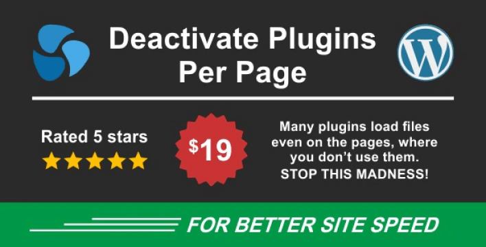 Deactivate plugins per page improve wordpress performance plugin wordpress
