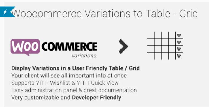 Woocommerce variations to table grid plugin wordpress