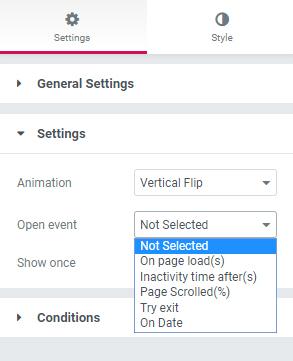 configurações de pop-up