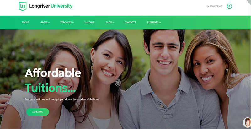 Longriver university theme wordpress creer site web e learning