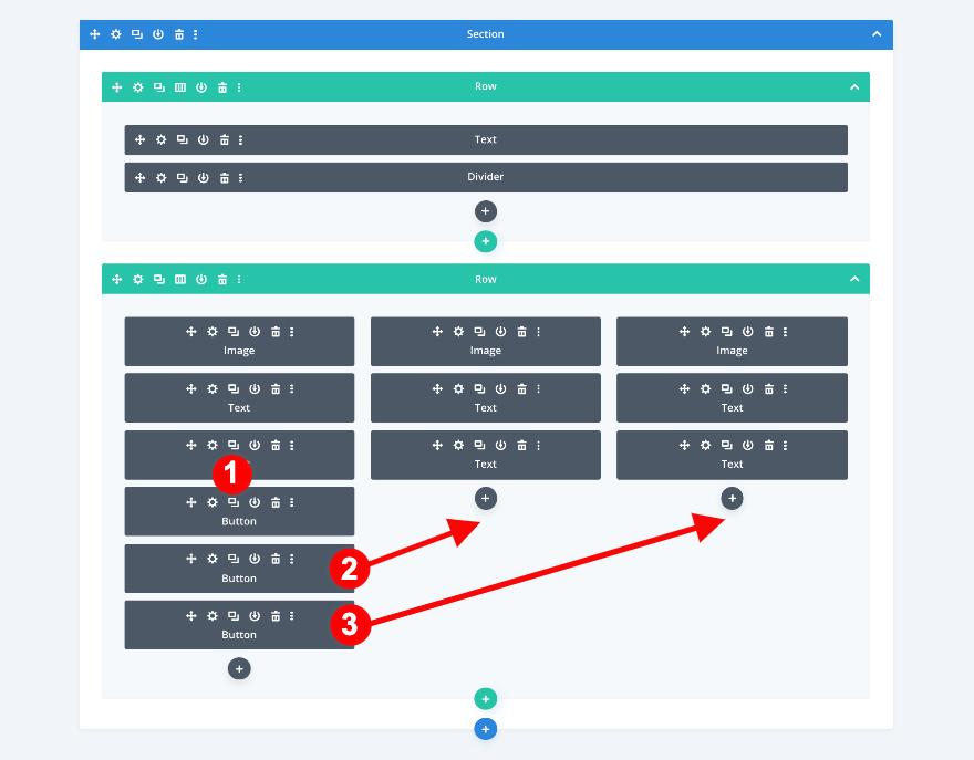 Dupliquer les module boutons divi