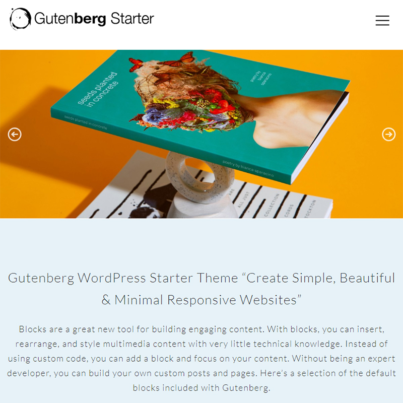 Гутенберг WordPress Тема для начала