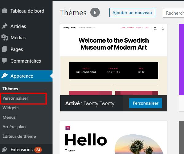 Accès au customizer de WordPress pour personnaliser le thème