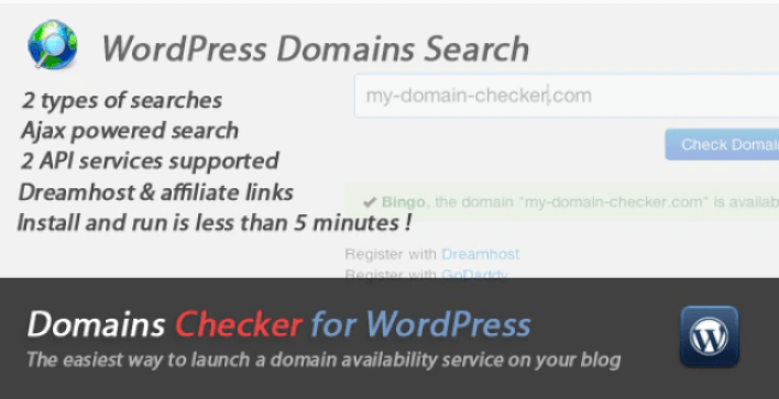 Domains names checker for wordpress plugin