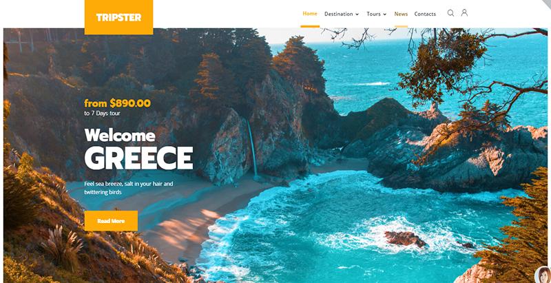créer un site web de voyages - Tripster
