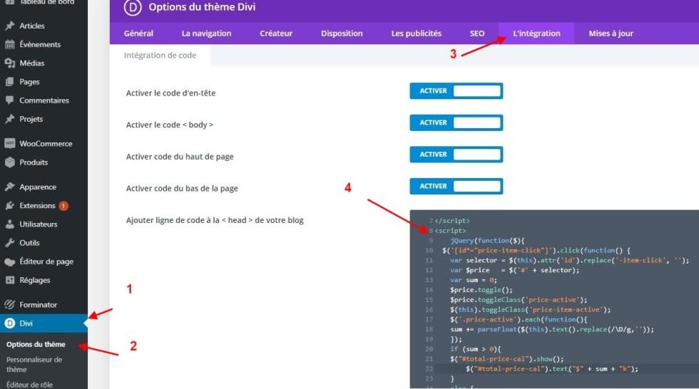 Integration code js