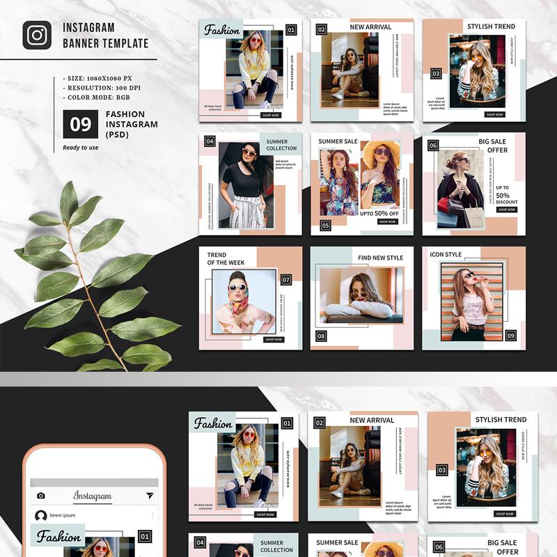 Paquet promotionnel pour page de mode sur Instagram