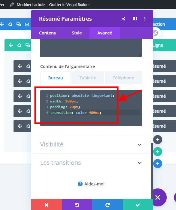 Modifier le style du module texte divi