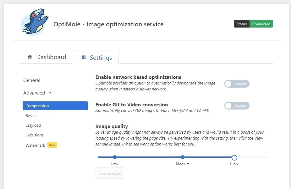 Reglage plugin optimole