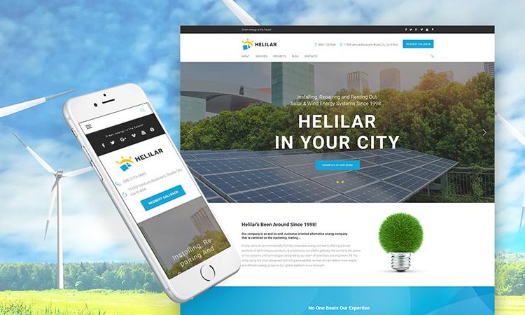 Helilar - Solar & Renewable Energy thème WordPress adaptatif