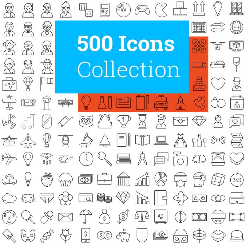 500 Modern ensemble d'Icônes