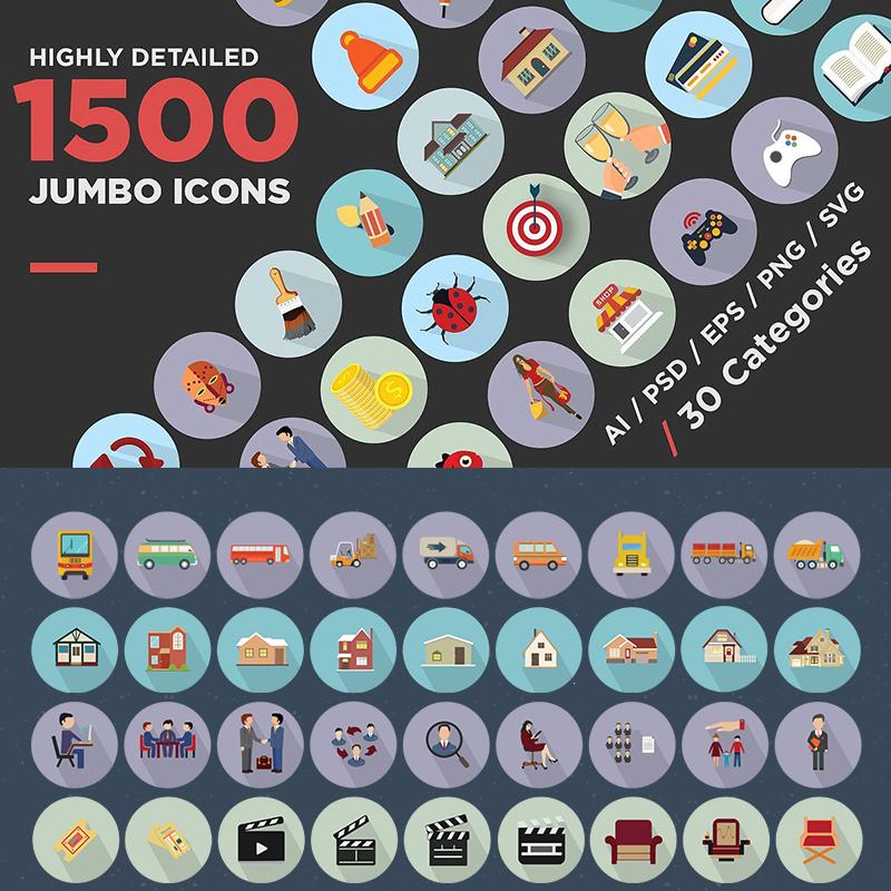 Jumbo Flat Icons Pack ensemble d'Icônes