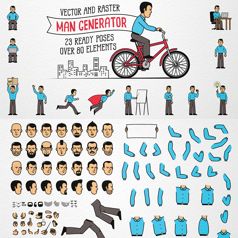 Men Character Generator Illustration