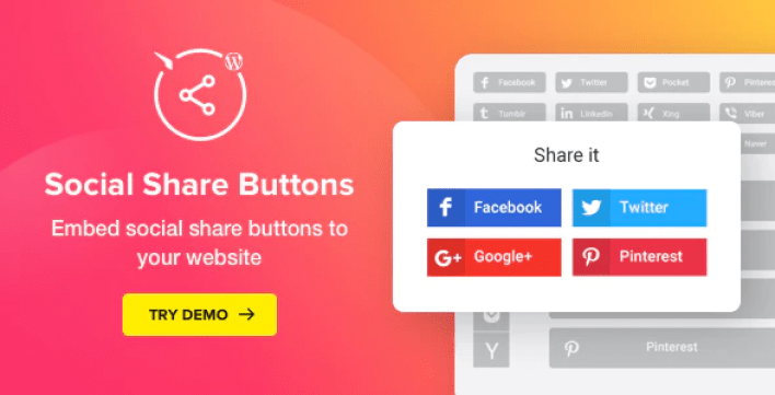 Social share buttons for wordpress plugin