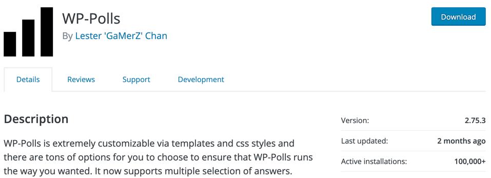 plug-in d'enquête wp-polls wordpress
