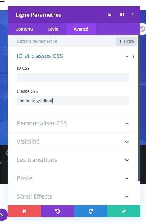 Class css divi module ligne