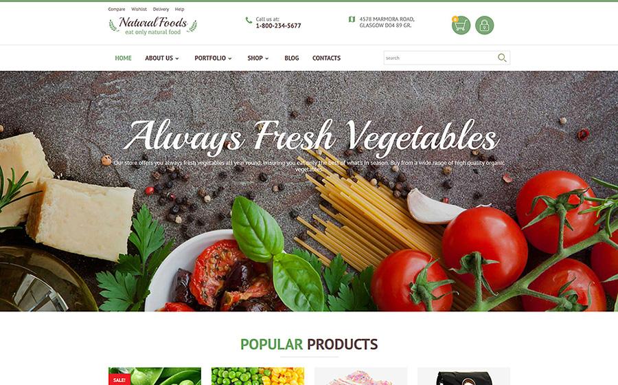 Alimentos naturais - Modelo de alimentos orgânicos para lojas on-line Tema WooCommerce adaptável