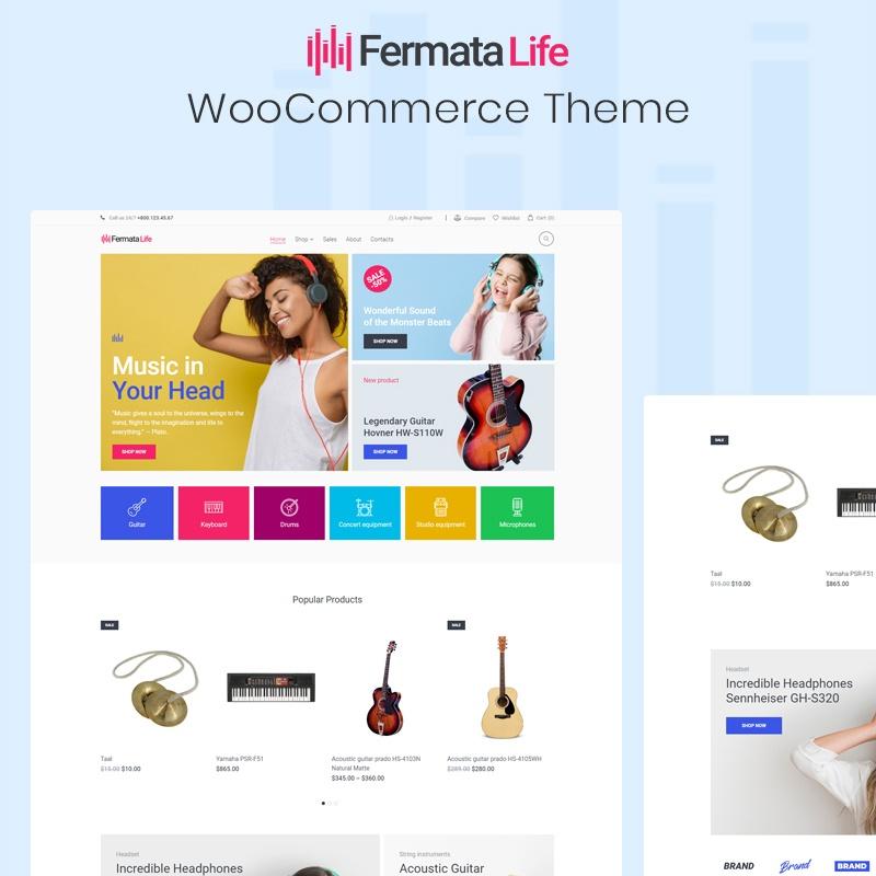 FermataLife - Winkel voor muziekinstrumenten ECommerce Classic Elementor Adaptive WooCommerce Theme