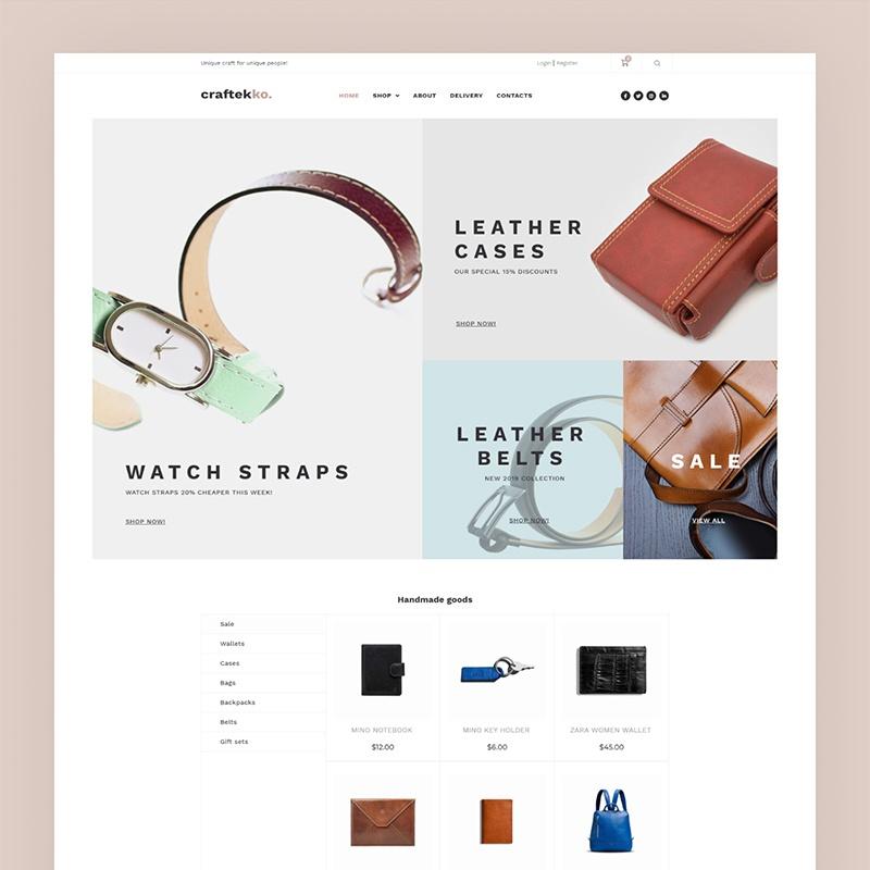 Craftekko - Handgemaakt E-commerce Clean Elementor WooCommerce-thema
