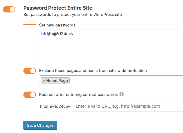 Configure password protect