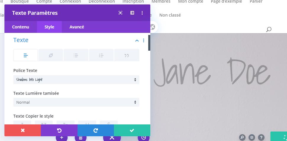Jane doe texte colonne 2 divi