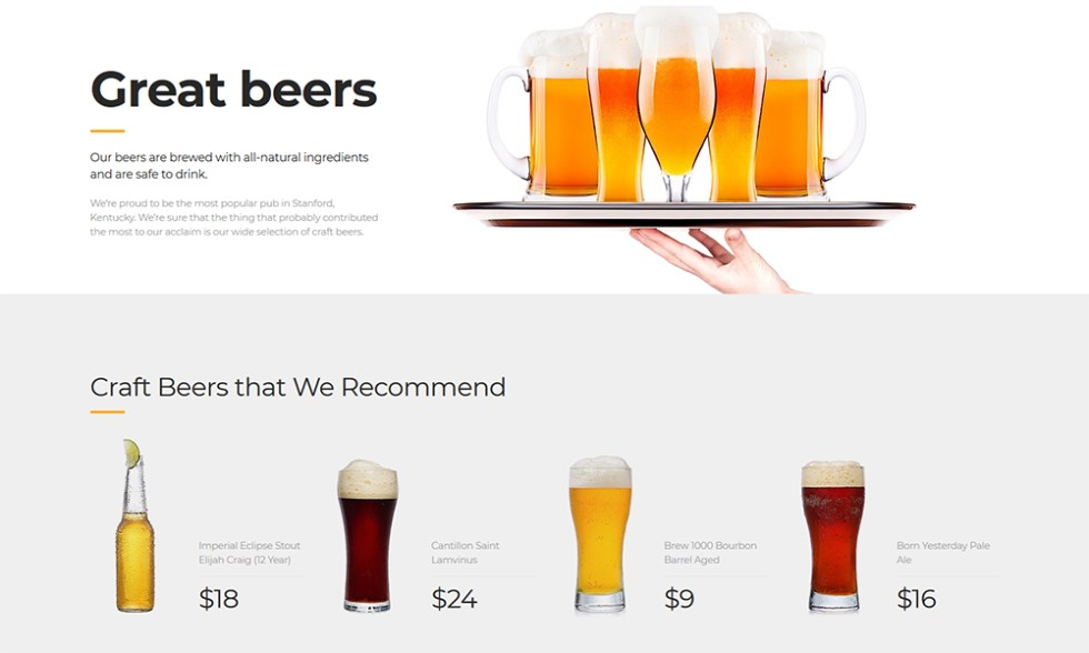 Modèle HTML pour Beer Pub