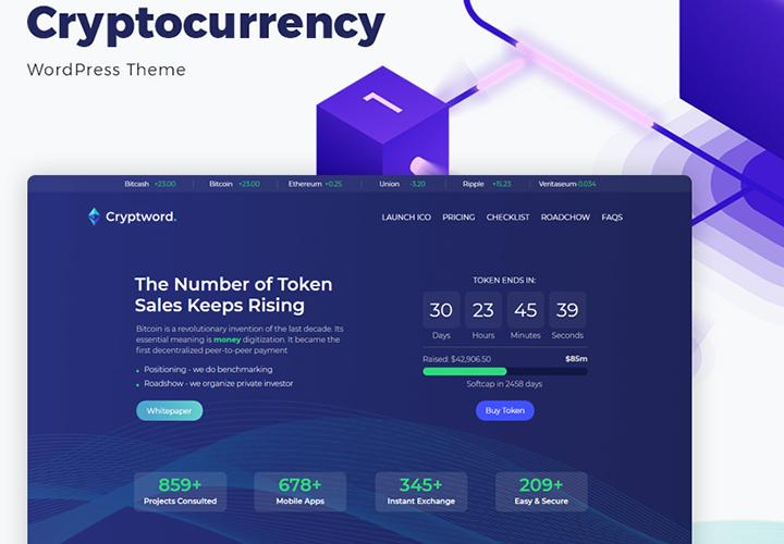 Cryptword - Thème WordPress Elementor pour site de crypto-monnaie