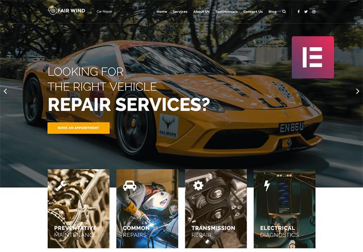 Fair Wind - Thème WordPress Elementor moderne pour sites de réparation des automobiles