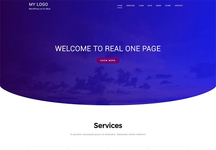 Real One Page - Thème de site Web WordPress