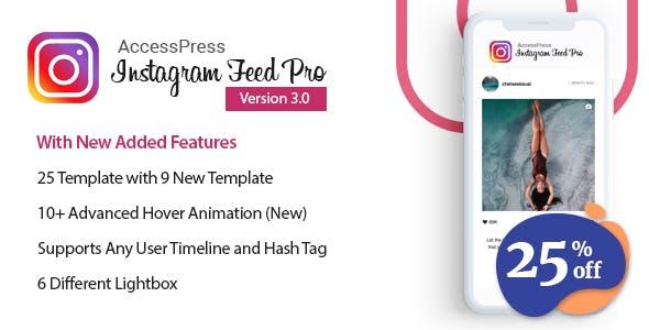 meilleurs plugins WordPress de partage social - Instagram feed pro banner