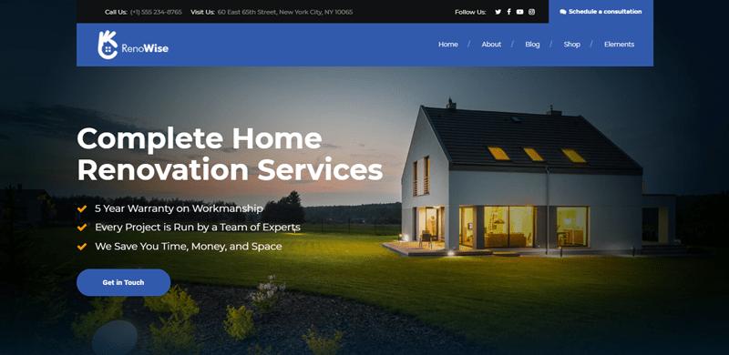 renowise  thème Wordress pour créer un site web d'entreprise de construction