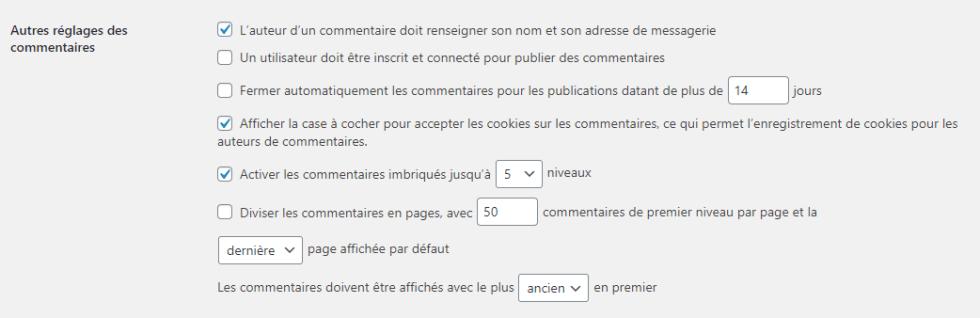 Reglage commentaires par defaut filtrer spam blogpascher 1