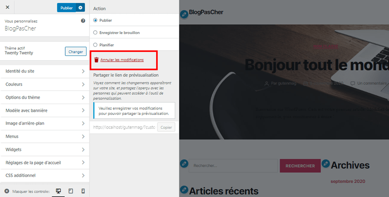 Theme wordpress customizer annuler modification blogpascher