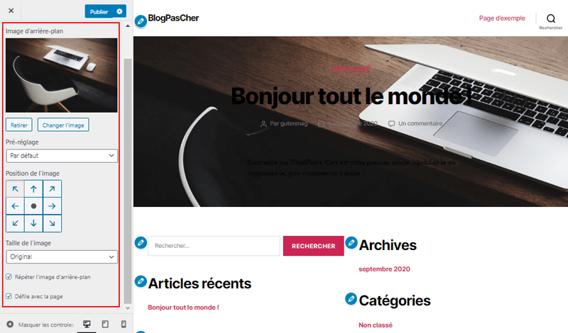 Theme wordpress customizer arriere plan blogpascher 1